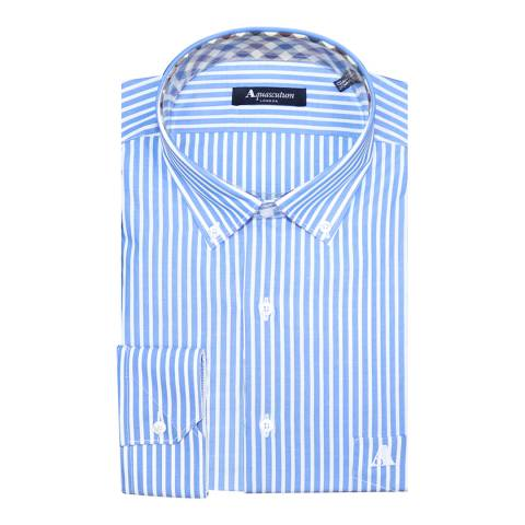 Aquascutum Blue Thick Stripe Slim Fit Cotton Shirt