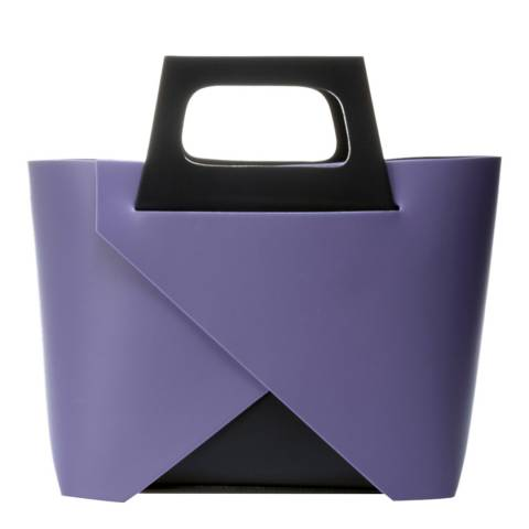 Markese Purple Leather Top Handle Bag