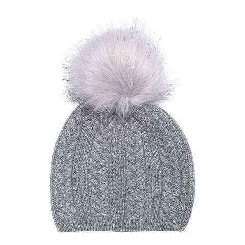 Laycuna London Grey Cashmere Faux Fur Bobble Hat