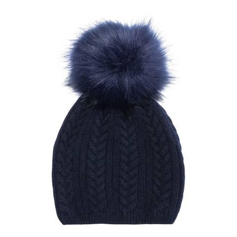 Laycuna London Navy Cashmere Faux Fur Bobble Hat