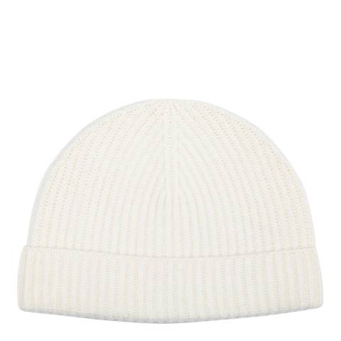 Laycuna London White Cashmere Ribbed Beanie Hat