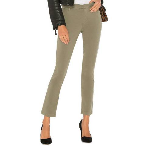J Brand Green Clara Mid Rise Cigarette Trousers