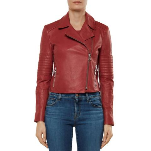 J Brand Red Aiah Leather Jacket