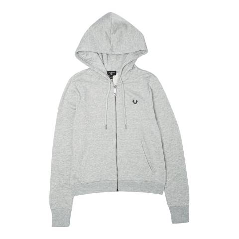 True Religion Grey Buddha Logo Zip Hoodie