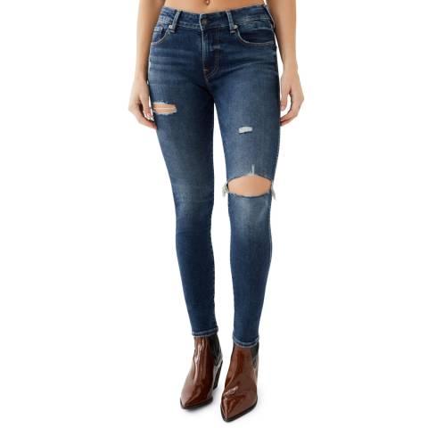 True Religion Blue Ripped Jennie Skinny Stretch Jeans