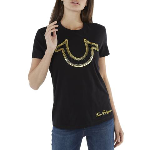 True Religion Black Foil Horseshoe Cotton T-Shirt