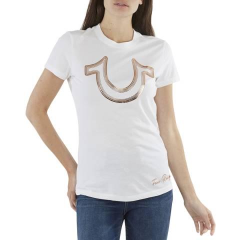 True Religion White Foil Horseshoe  T-Shirt