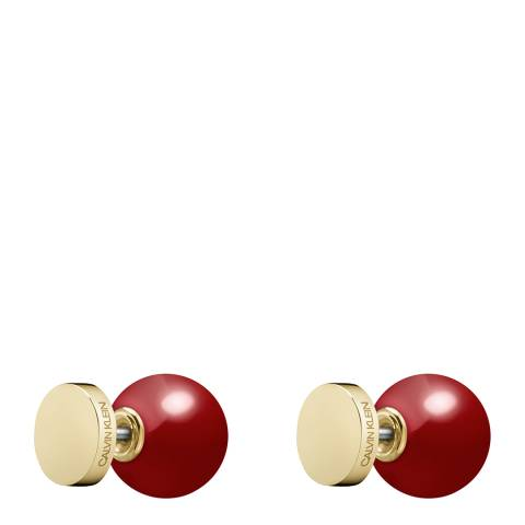 Calvin Klein Gold Red Bubbly Stud Earrings