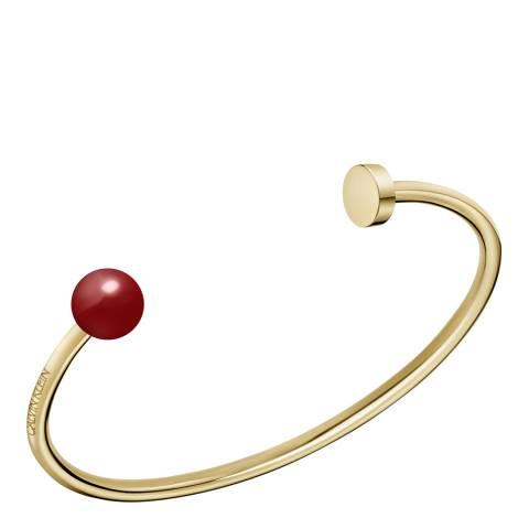 Calvin Klein Gold Red Bead Bubbly Open Bangle