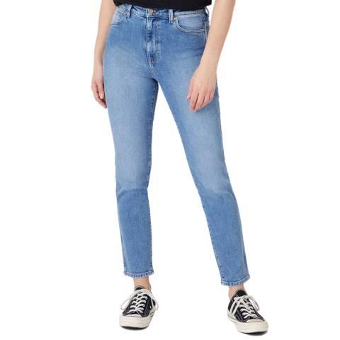 Wrangler Light Blue Wash Retro Skinny Fit Cotton Jeans