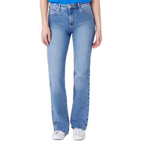 Wrangler Light Blue Wash Flare Cotton Jeans