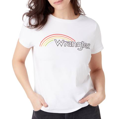 Wrangler White Round Rainbow Cotton T-Shirt