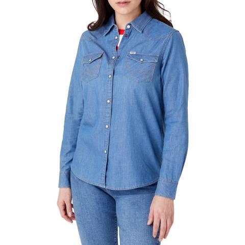 Wrangler Blue Denim Regular Fit Western Cotton Shirt