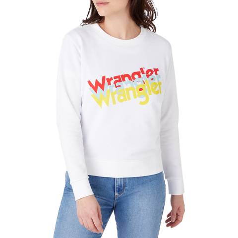 Wrangler White Graphic Regular Fit Cotton Sweatshirt