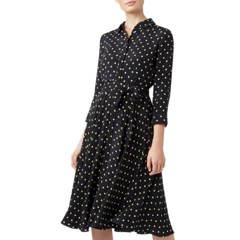 Hobbs London Navy Polka Lainey Shirt Dress