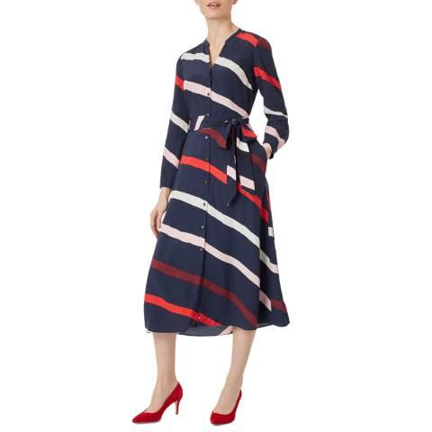 Hobbs London Navy Stripe Ginnie Shirt Dress