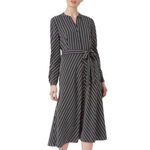 Hobbs London Navy Stripe Tarina Shirt Midi Dress