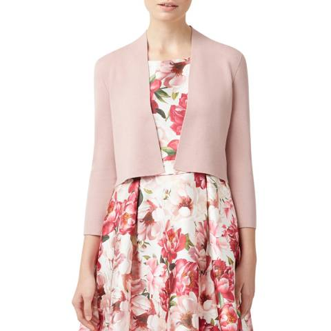 Hobbs London Pink Crop Abbey Cardigan