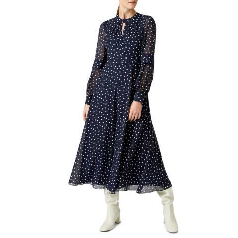 Hobbs London Navy Polka Piper Midi Dress