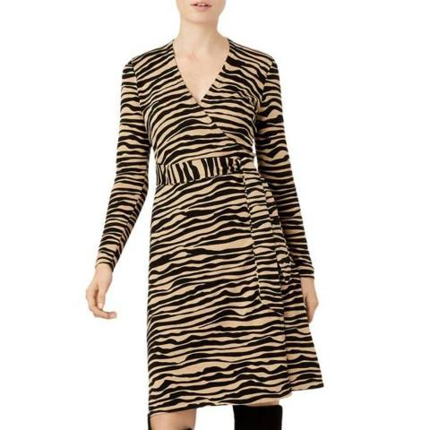Hobbs London Camel Zebra Zadie Knitted Dress