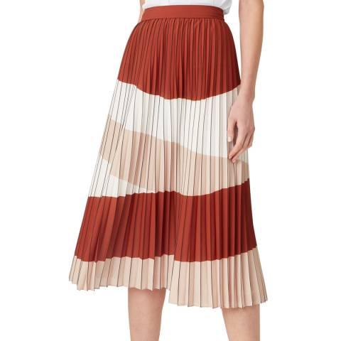 Hobbs London Pink Stripe Stretch Bess Midi Skirt