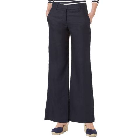 Hobbs London Navy Linen Nicole Mid Rise Trousers