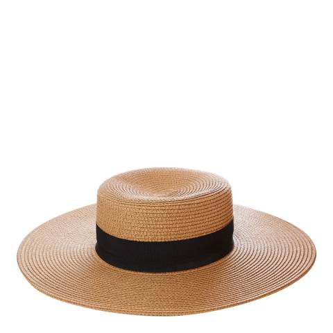N°· Eleven Tan Woven Wide Brim Sun Hat