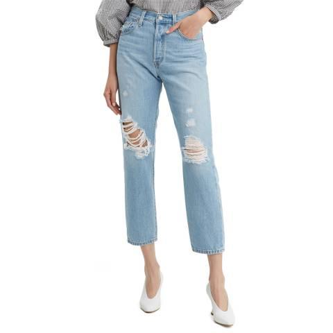 Levi's Blue Distressed 501® Crop Stretch Jeans