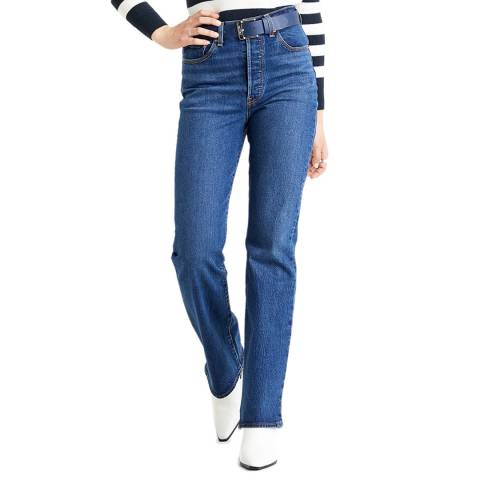 Levi's Mid Blue Ribcage Bootcut Stretch Jeans