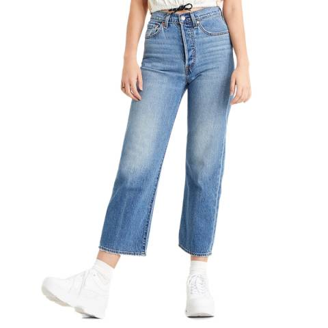 Levi's Mid Blue Ribcage Straight Stretch Jeans