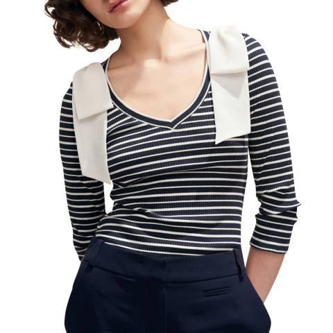 Claudie Pierlot Navy Stripe V Neck Bow T-Shirt