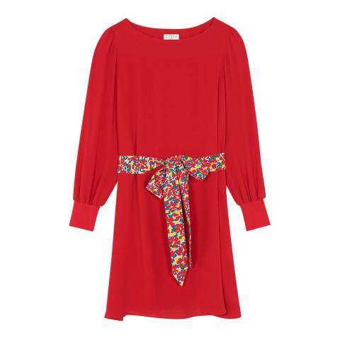 Claudie Pierlot Red Floral Belted Dress