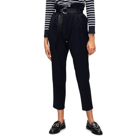 Claudie Pierlot Navy Belted High Waisted Trousers