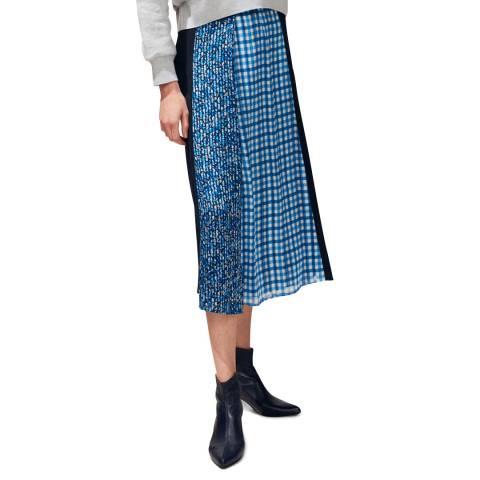 Claudie Pierlot Navy Multi Print Gathered Skirt