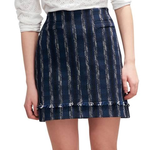 Claudie Pierlot Navy Striped Tweed Mini Skirt