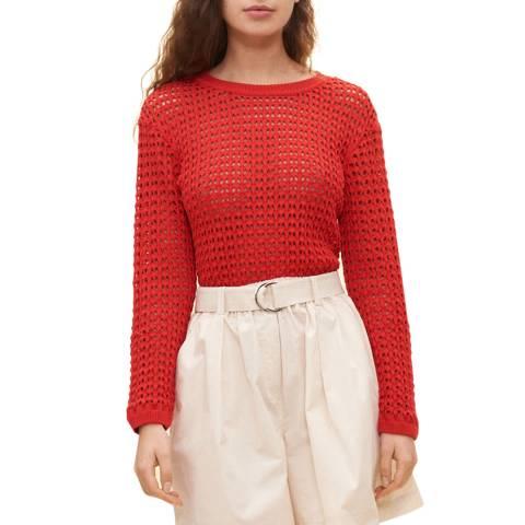 Claudie Pierlot Red Round Neck Pattern Knit Cotton Jumper