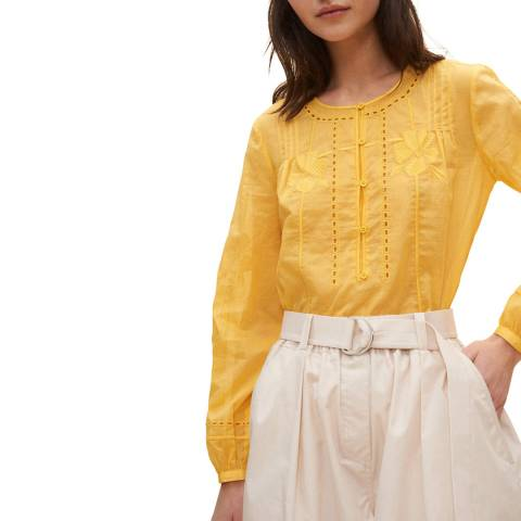 Claudie Pierlot Yellow Embroidered Blouse