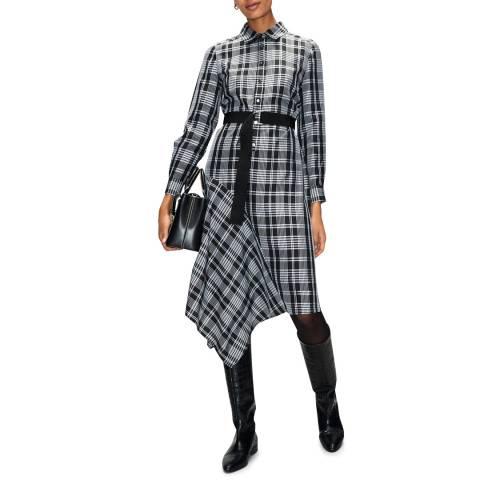 Claudie Pierlot Multi Check Print Asymmetrical Dress