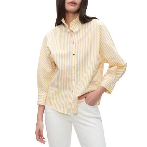 Claudie Pierlot Pastel Yellow Ruffled Neck Stripe Cotton Shirt