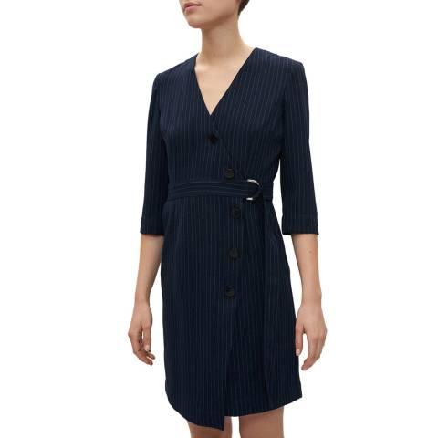 Claudie Pierlot Dark Navy Stripe Belted Dress