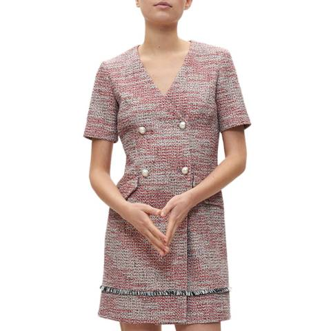 Claudie Pierlot Red Tweed Button Mini Dress