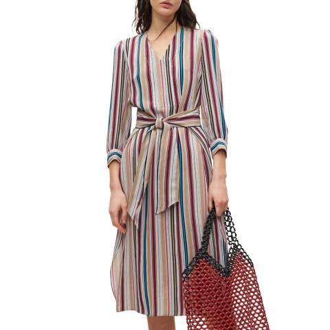Claudie Pierlot Multi Striped Belted Midi Dress