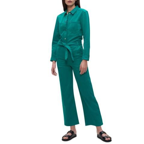 Claudie Pierlot Green Long Sleeve Tie Waist Cotton Jumpsuit