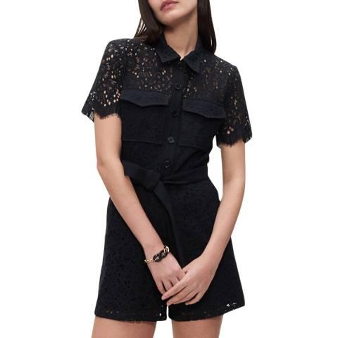 Claudie Pierlot Black Tie Waist Lace Detailed Jumpsuit