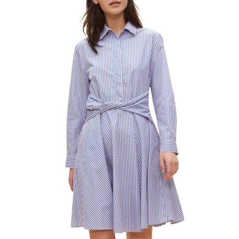 Claudie Pierlot Blue/White Twisted Waist Line Cotton Dress