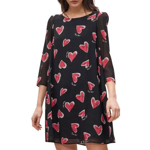 Claudie Pierlot Black Heart Print Shift Dress