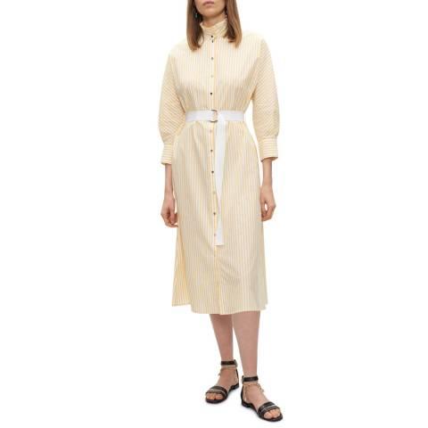 Claudie Pierlot Yellow/White Stripe Tie Waist Cotton Dress