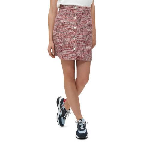 Claudie Pierlot Red Button Through Cotton Blend Mini Skirt