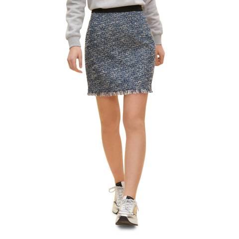 Claudie Pierlot Multi Navy Frayed Hem Mini Skirt