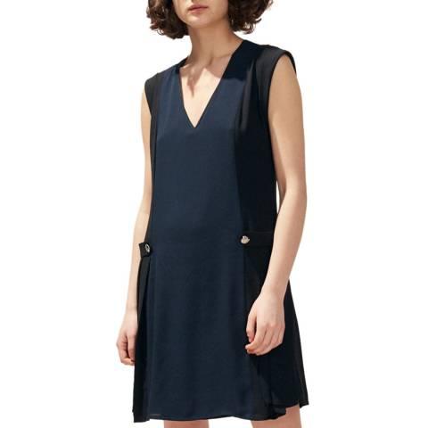 Claudie Pierlot Navy Pleated Sleeveless Midi Dress